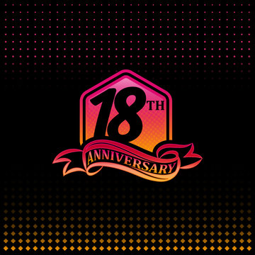 Eighteen years anniversary celebration logotype. 18th anniversary logo, black background