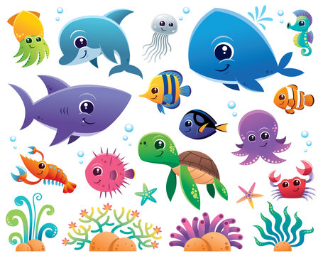 Vector Illustration of Sea animals Cartoon set