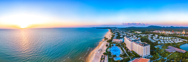 Coastal Resort Scenery of Phu Quoc Island During Sunset, Vietnam, a Tourism Destination for Summer...