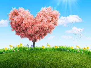 Wall Mural - green grass and spring flowers at backyard and bloom tree in shape of heart