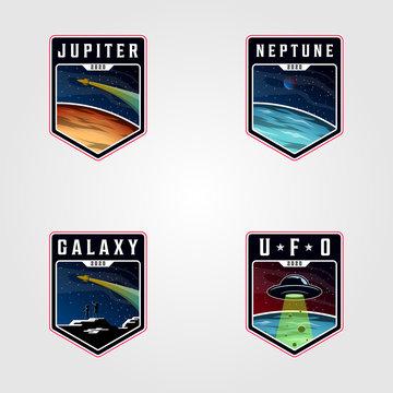 set of space landscape planet logo vector, premium badges space logo