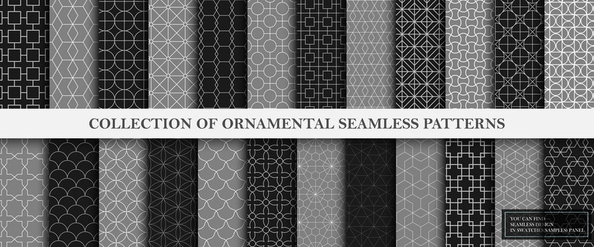 Collection of repeatable geometric ornamental vector patterns. Tile oriental dark luxury backgrounds. Vintage gray and black textures. You can find seamless design in swatches panel