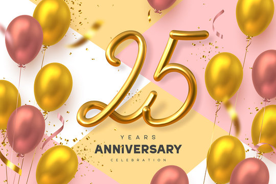 25 years anniversary celebration banner. 3d handwritten golden metallic number 10 and glossy balloons with confetti. Vector realistic template.
