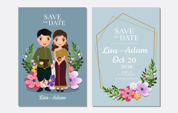 Wedding invitation card the bride and groom Thai cute couple cartoon character.Colorful vector illustration for event celebration