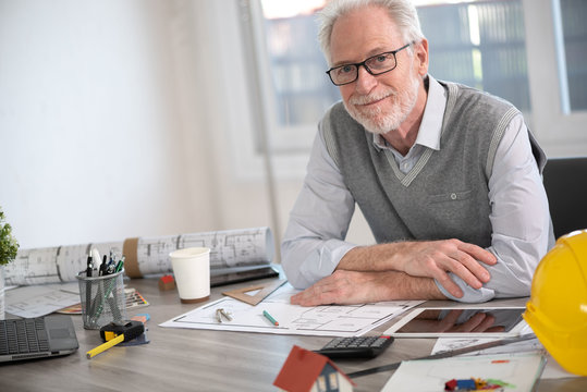 Portrait of senior architect