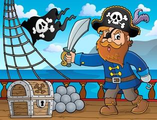 Foto op Plexiglas Voor kinderen Pirate holding sabre theme 4