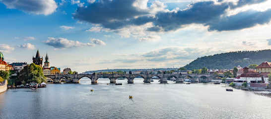 Photo sur Aluminium Europe de l Est View of the city and the Vltava River in Prague, the capital of the Czech Republic.