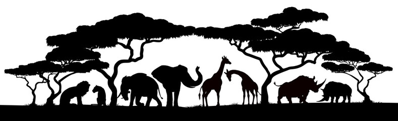 African safari animals and trees in silhouettes scene
