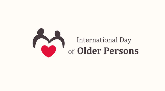 International Day of Older Persons emblem template, two older persons silhouette with red heart, senescence people symbol, raising awareness about issues affecting elderly logo, vector icon
