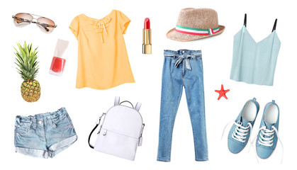 Women's clothes set isolated on white.Summer outfit,young girl clothing collection. Wall mural