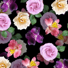 Fototapete - Beautiful floral background of roses and alstroemeria. Isolated