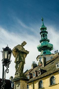 Ancient sculpture of Jan Nepomucky near Michal Gate in Bratislava, Slovakia
