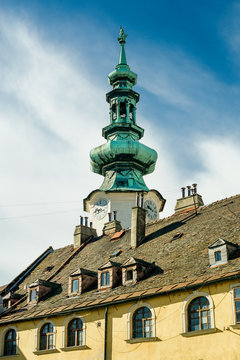View of the Medieval Saint Michael Gate Tower In Bratislava. Old town landmark