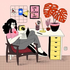 Illustration of woman working from home on laptop