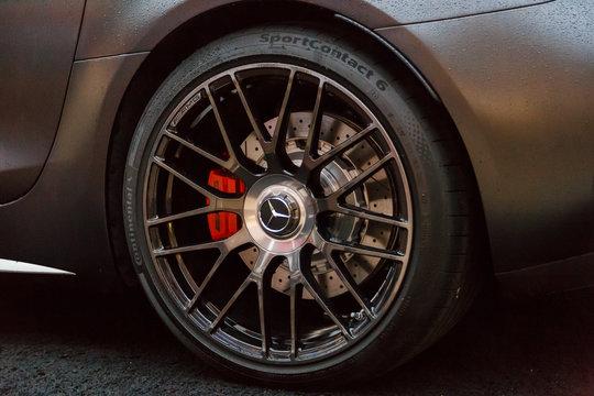 Sport car Mercedes-AMG GT C, details, close-up photo of wheel