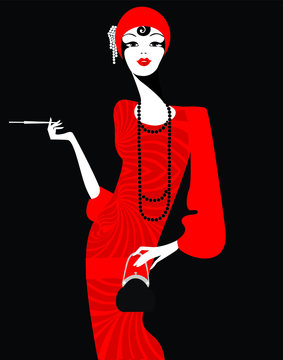 lady in a red retro dress of the 1920s on black background, silhouette of woman in retro style, character for the design of invitations, cards, planner in retro art deco style