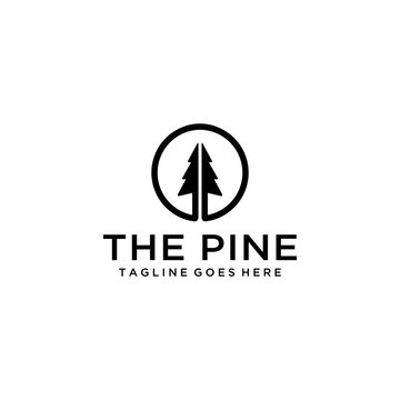 Illustration modern pine tree on circle logo design vector silhouette.