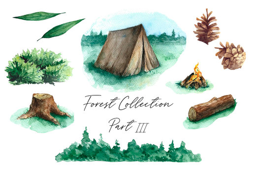 Set of watercolor forest camping illustrations