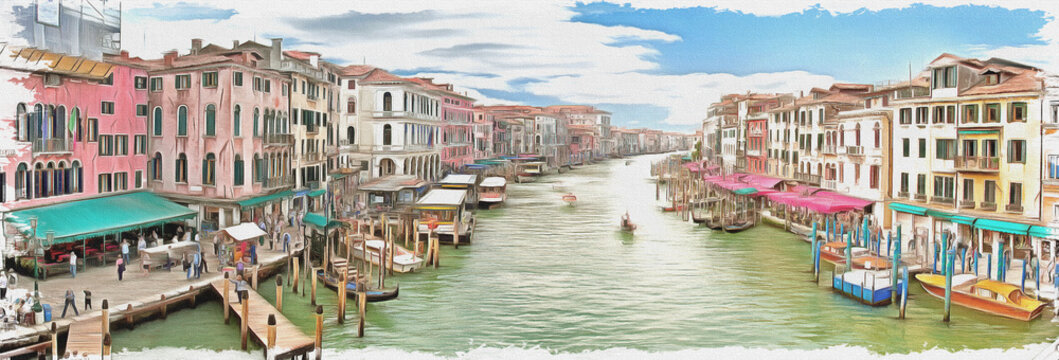 Imitation of a picture. Oil paint. Illustration. Grand Canal. Panorama. Venice. Italy