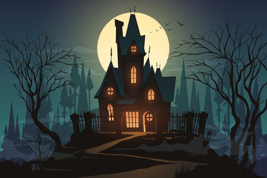 Dark halloween house with moon