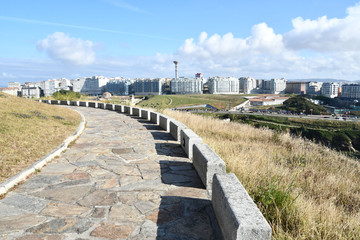 Fotobehang Noord Europa road to nowhere, photo as a background , in a coruna north spain, galicia, spain, europe