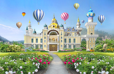 3d mural wallpaper  palace with garden and flowers landscape . colored Air balloons in the sky . suitable for Childrens wallpaper Fototapete