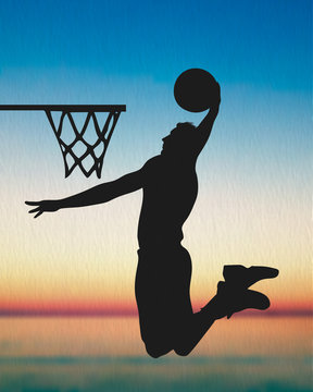 A Basketball Player Silhouette, The Sunset