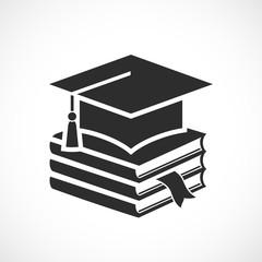 Academic hat and textbooks, graduation icon