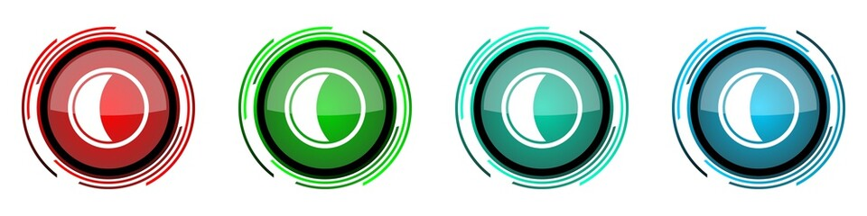 Fotomurales - Moon round glossy vector icons, set of buttons for webdesign, internet and mobile phone applications in four colors options isolated on white background