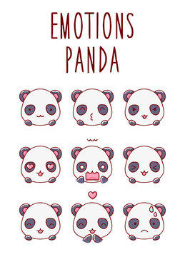 Set of emotions cute panda character face kawaii, isolated on white background flat hand drawn