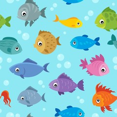 Fotorolgordijn Voor kinderen Seamless background stylized fishes 3