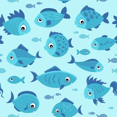 Fotorolgordijn Voor kinderen Seamless background stylized fishes 4