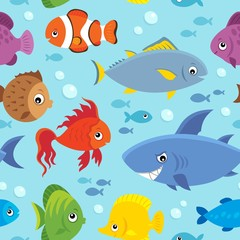 Fotorolgordijn Voor kinderen Seamless background stylized fishes 5