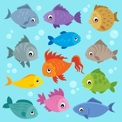 Fotorolgordijn Voor kinderen Stylized fishes topic image 3