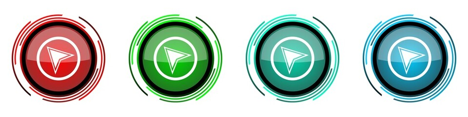 Fotomurales - Navigation round glossy vector icons, set of buttons for webdesign, internet and mobile phone applications in four colors options isolated on white background