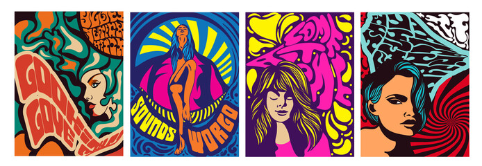 Set of four different psychedelic stylised women designs for posters or covers, brightly colored vector illustration