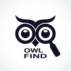Aluminium Prints Owls cartoon owl eyes with magnifying glass find logo design