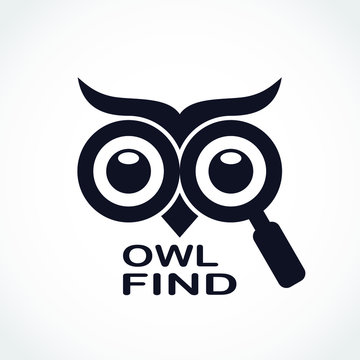owl eyes with magnifying glass find logo design