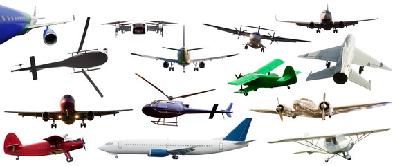 Poster Helicopter set of airplane and helicopter flying isolated on white. air transportation concept