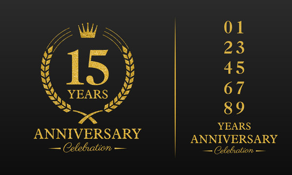 15 years golden glitter anniversary celebration badge, additional elements added for compilation any dates or years. Vector illustration.