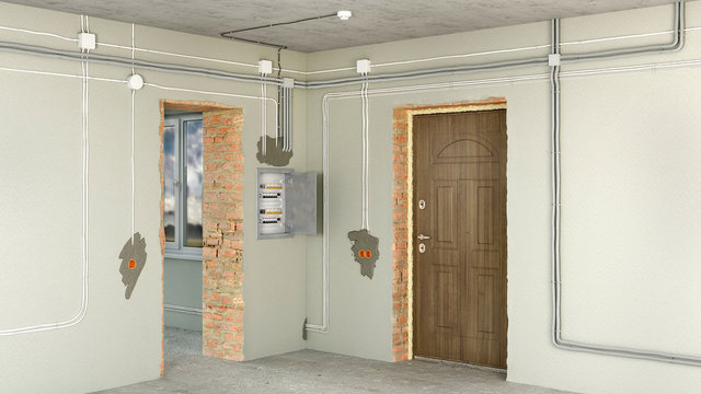 Electrical wiring and switch box in renovating house, 3d illustration