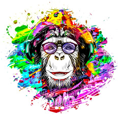 colorful artistic monkey muzzle in eyeglasses with colorful paint splatters on white background.