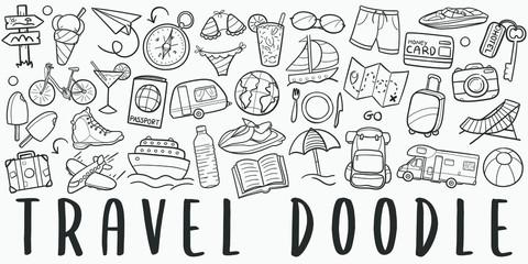 Fototapeta Time to Travel Doodle Line Art Illustration. Hand Drawn Vector Clip Art. Banner Set Logos.