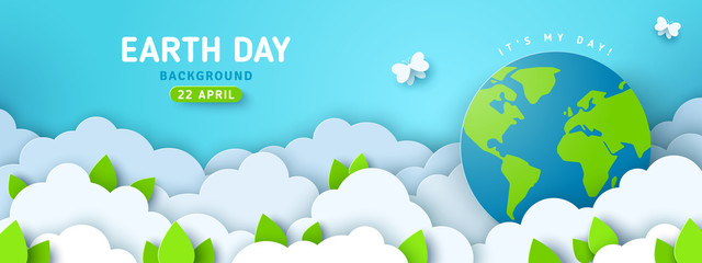 Earth Day banner or poster with paper cut clouds in blue sky. Background with green leaves, butterfly and globe. Vector illustration. Place for text. Fotomurales