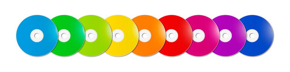 Colorful rainbow CD - DVD range on white background banner