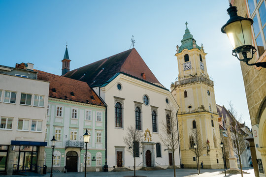 Bratislava, Slovakia. View of Bratislava main square with the city hall