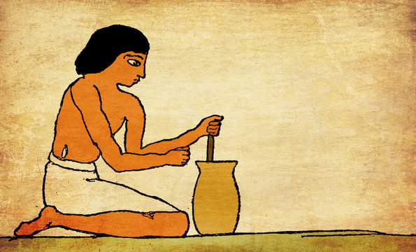 Ancient Egypt - preparation of gruels and other farinaceous foods, stirring until quite smooth