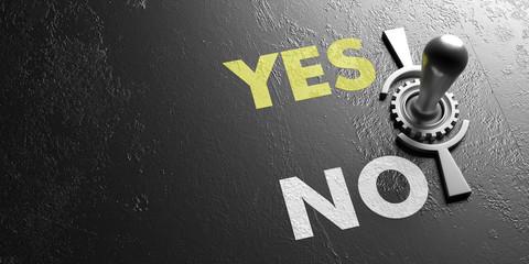 Old vintage switch Yes no on metal black background. 3d illustration Fototapete