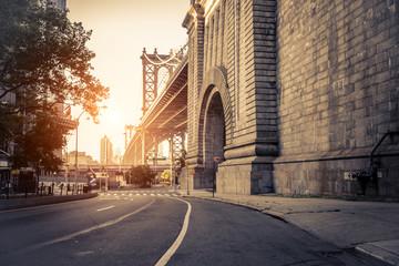 Manhattan Bridge at sunset, New York Fototapete