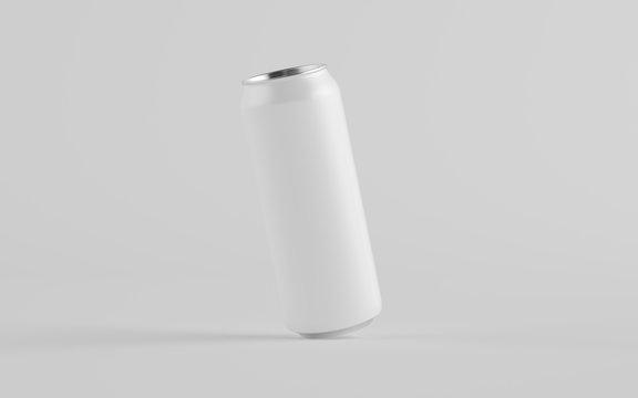 16 oz. / 500ml Aluminium Can Mockup - One Can. Blank Label.  3D Illustration